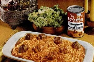 Chef Boy-Ar-Dee spaghetti and meatball dinners from the 1960s