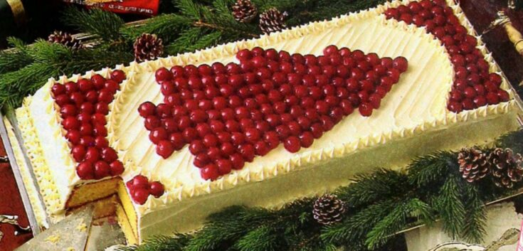 Cherry Christmas Tree Cake Vintage Dessert Recipe 1986 Click Americana