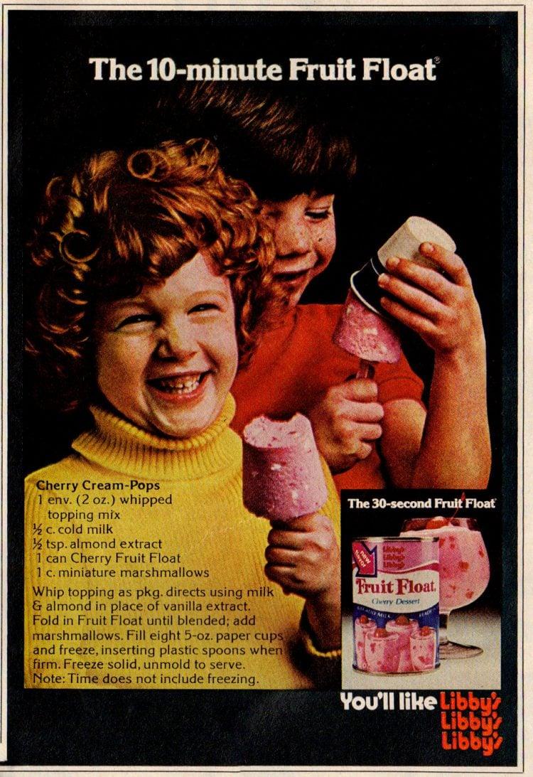Cherry Cream Frozen Pops with Fruit Float (1974)