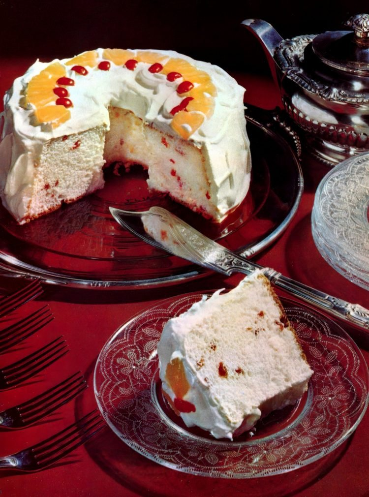 Cherry angel food cake (1953)