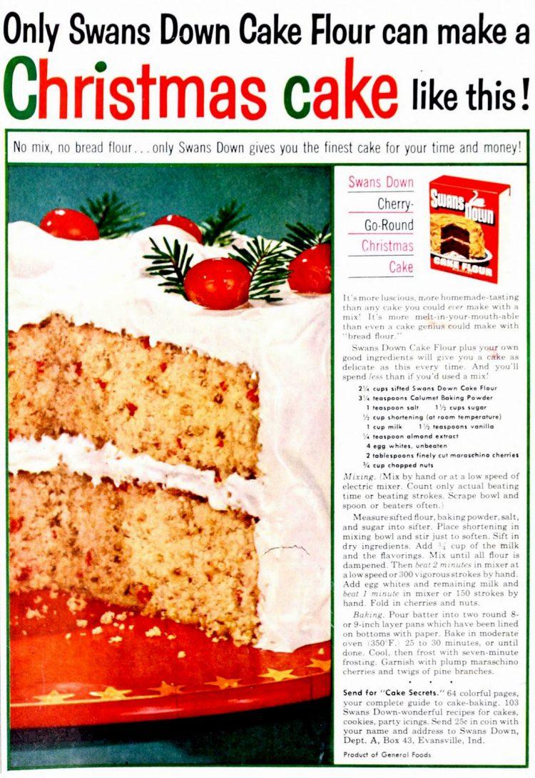 Cherry-go-round Christmas cake 1953