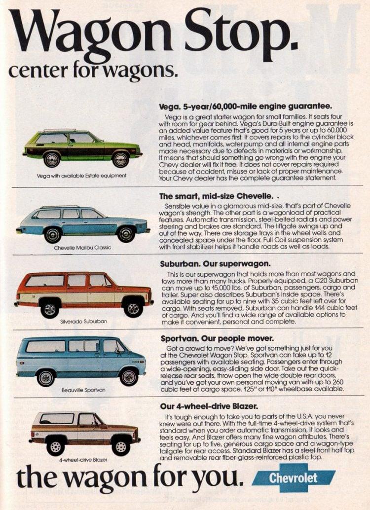 Chevy Vega, Chevelle, Suburban, Sportvan, Blazer (1977)
