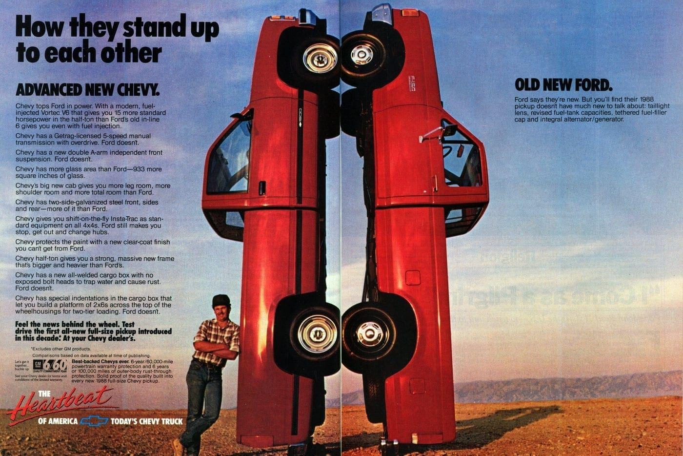 Chevy vs Ford pickup trucks (1987)
