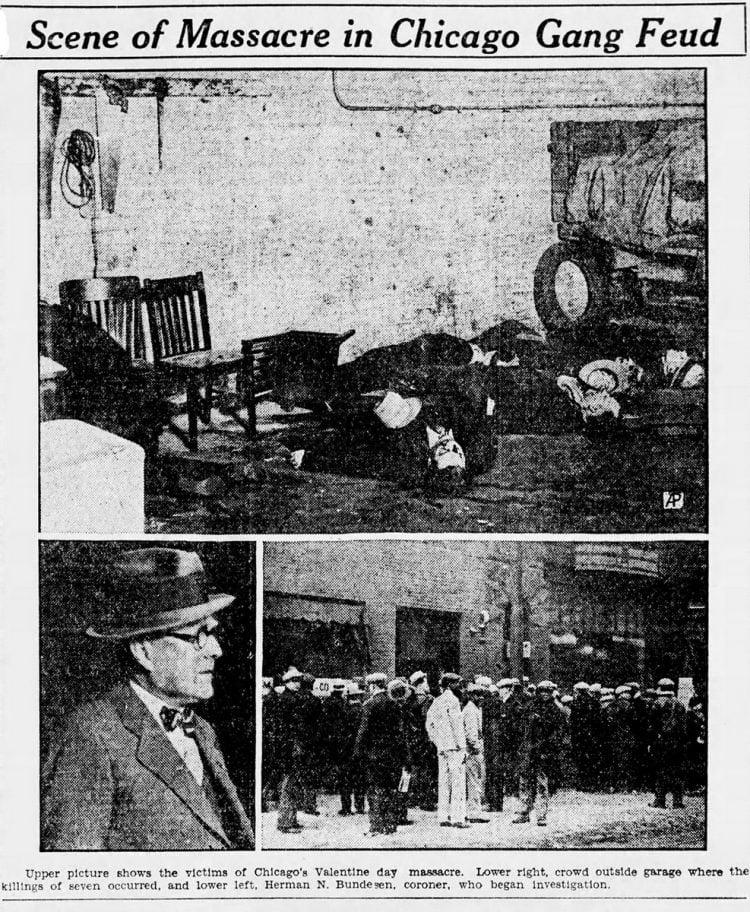 Chicago gang kills six The St Valentine's Day Massacre (1929)