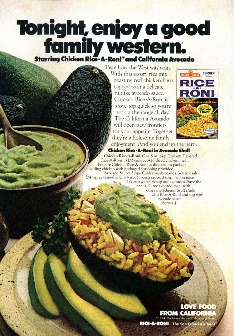 Chicken Rice-A-Roni in Avocado Shell recipe 1978