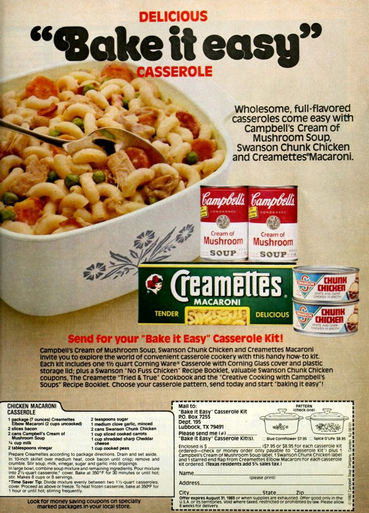 Chicken macaroni casserole 80s dinner recipe