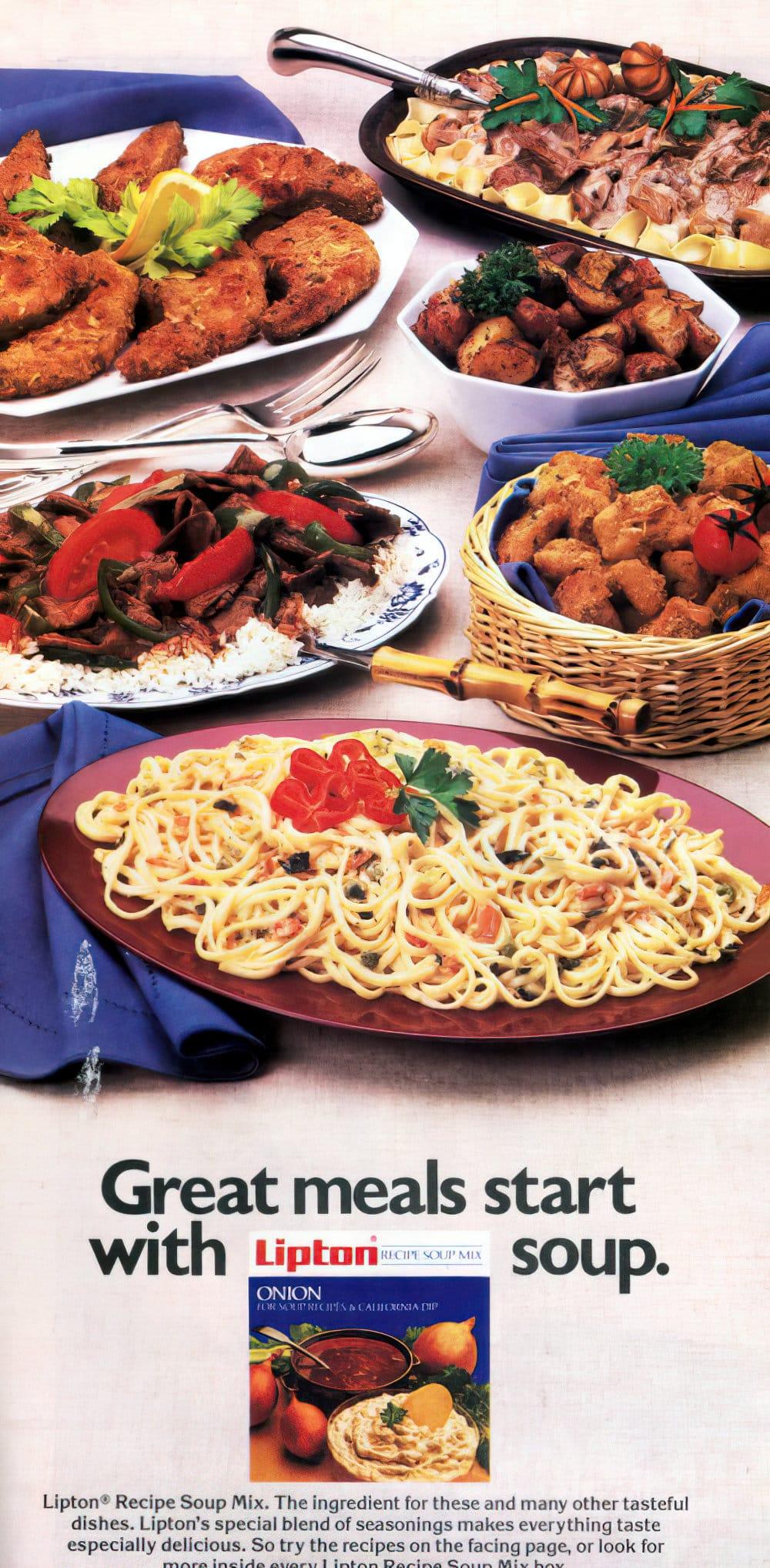 Chicken nuggets, primavera and beef stroganoff recipes (1987)