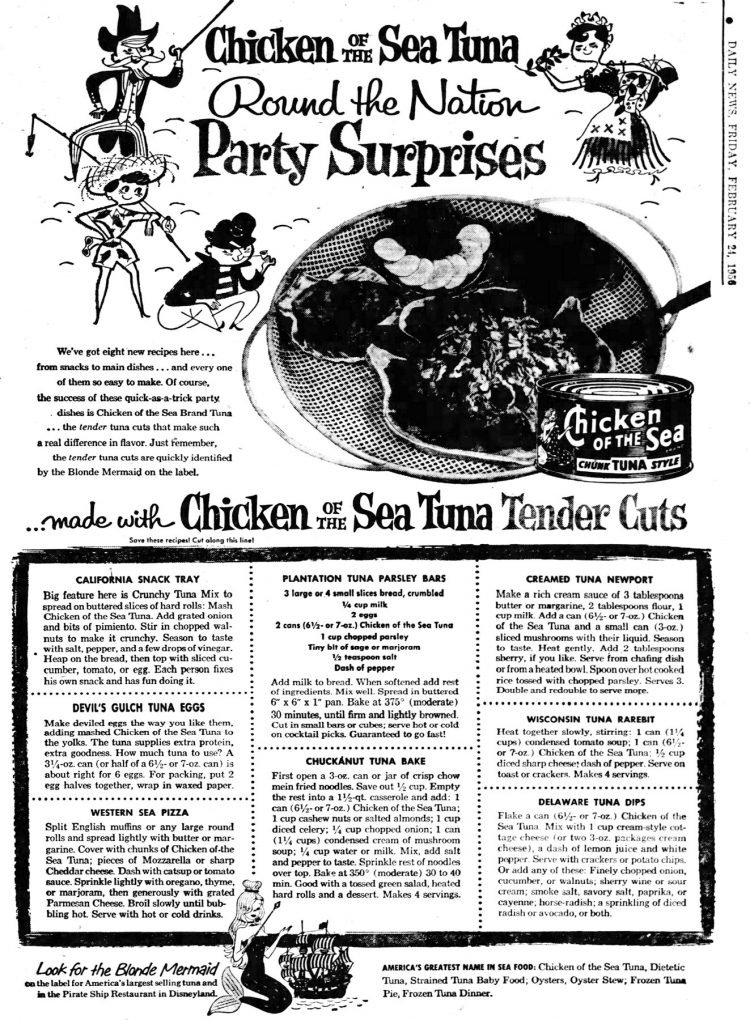 Chicken of the Sea Tuna Round the Nation Party Surprises recipes - Disneyland Pirate Ship Restaurant 1956 (1)