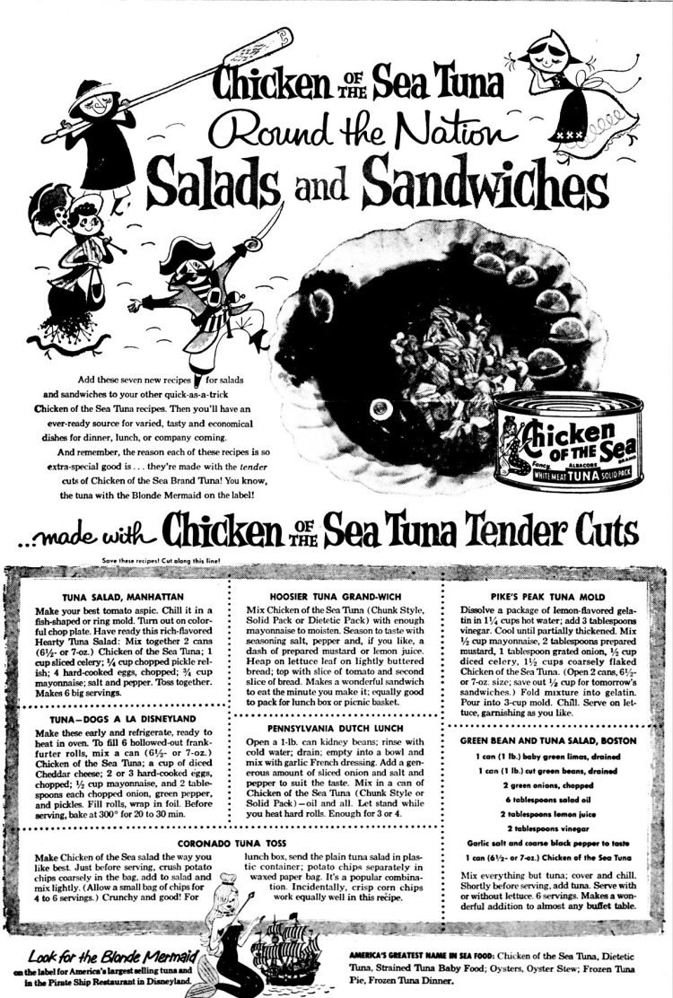 Chicken of the Sea Tuna Round the Nation Party Surprises recipes - Disneyland Pirate Ship Restaurant 1956 (3)