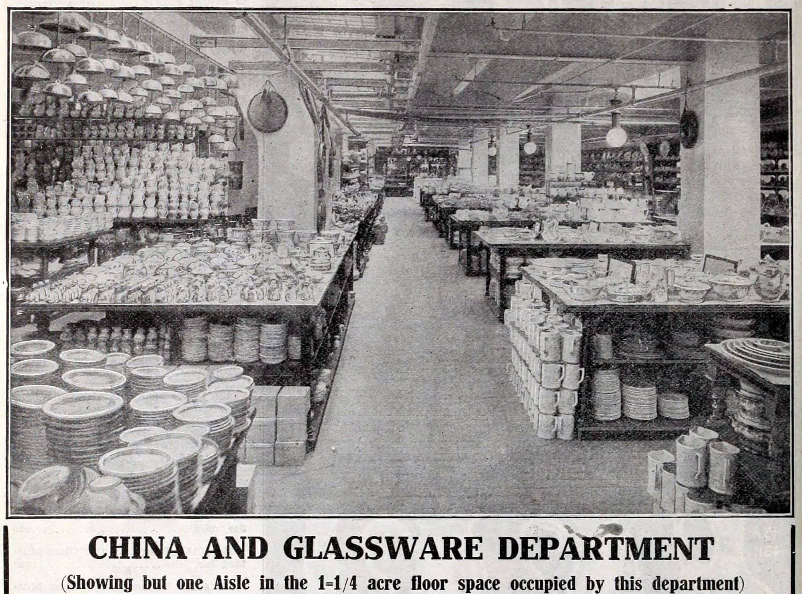 China and glassware department at the vintage Macy's store in NYC (1900s)