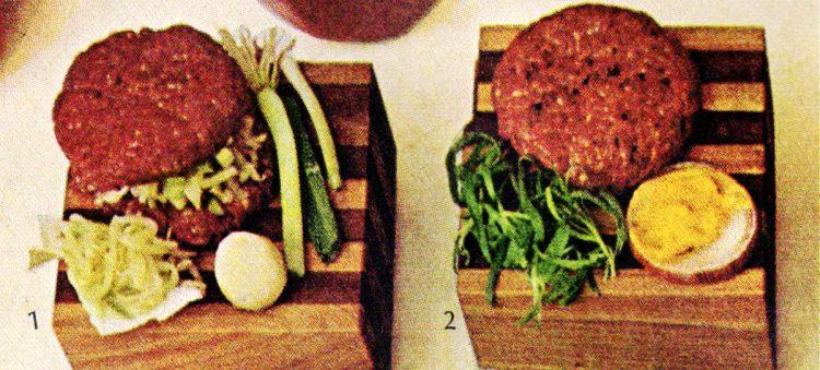 Chinese burger and Deviled burger - Retro 60s hamburgers