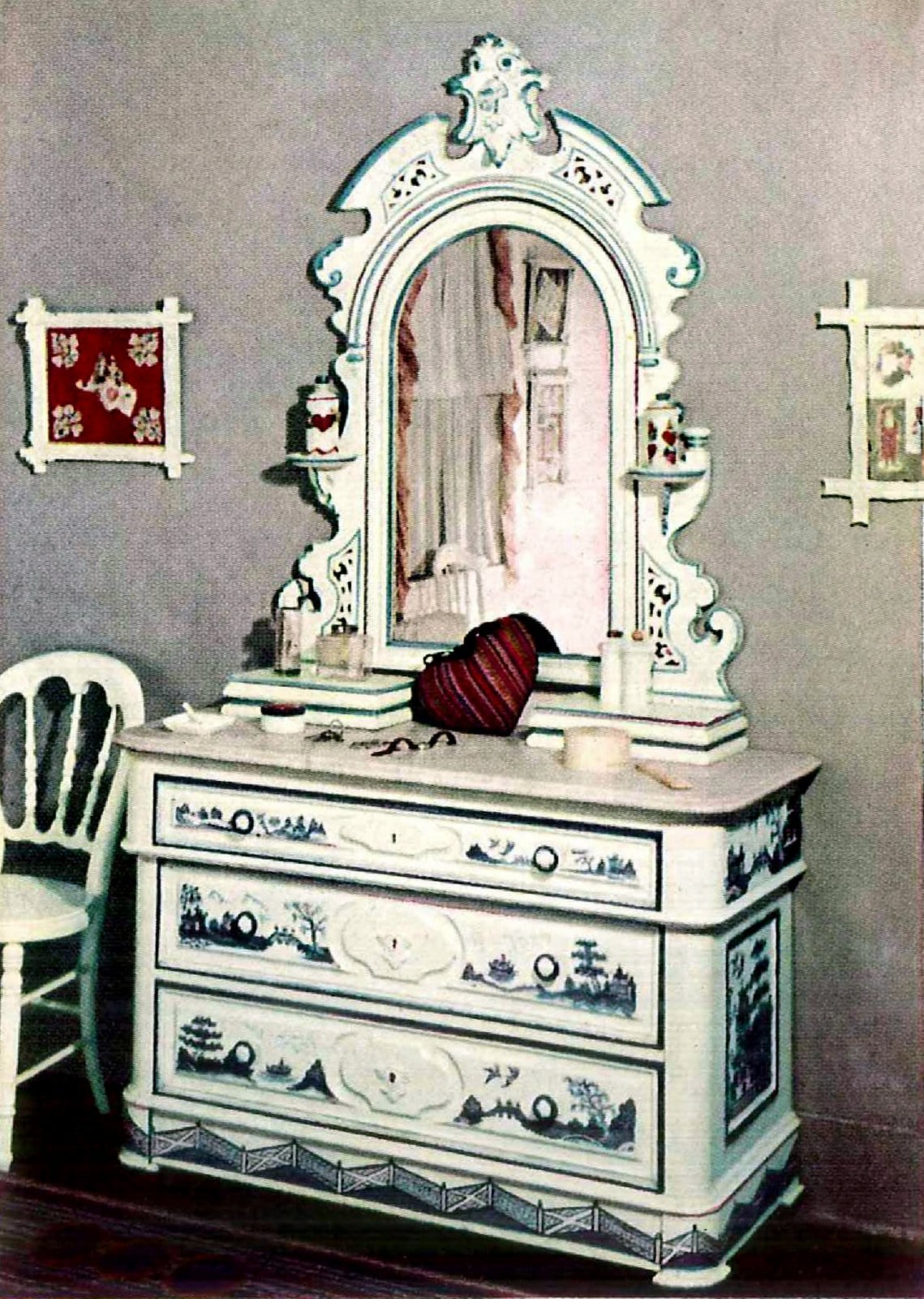 Chinese picture-fable designs painted on vintage bedroom furniture (2)