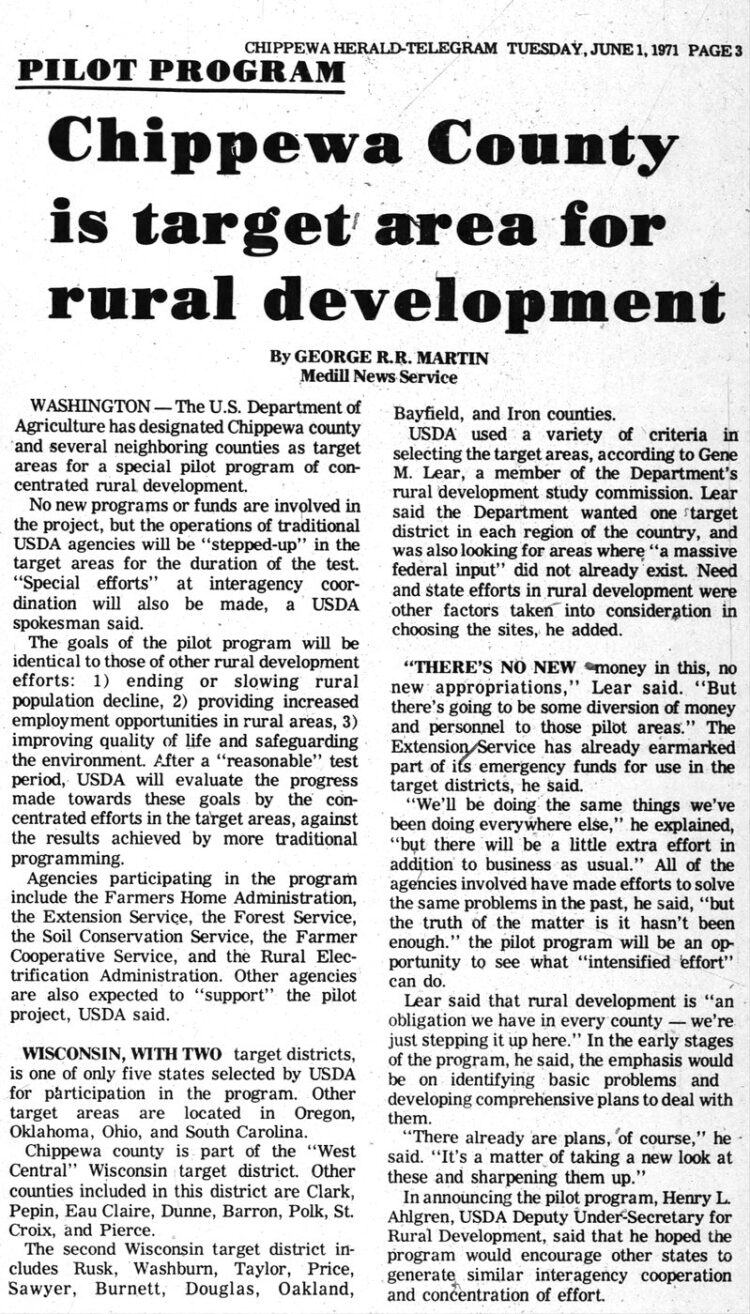 Chippewa Country is target for rural development - George R R Martin article in Chippewa Herald-Telegram - June 1 1971