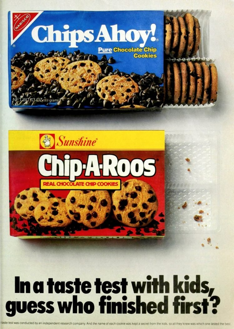 Chips Ahoy and Chip-A-Roos cookie packages (1986)