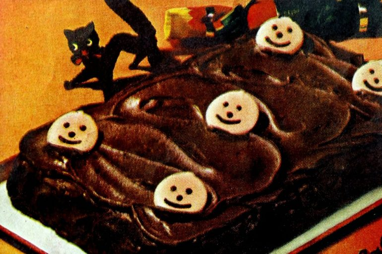 Choc-o-Lantern cake vintage recipe for Halloween