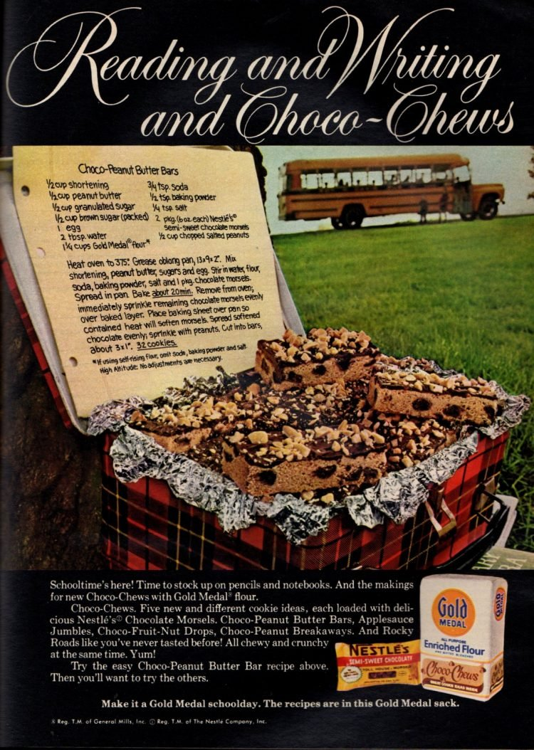 Choco-peanut butter bar cookies (1972)