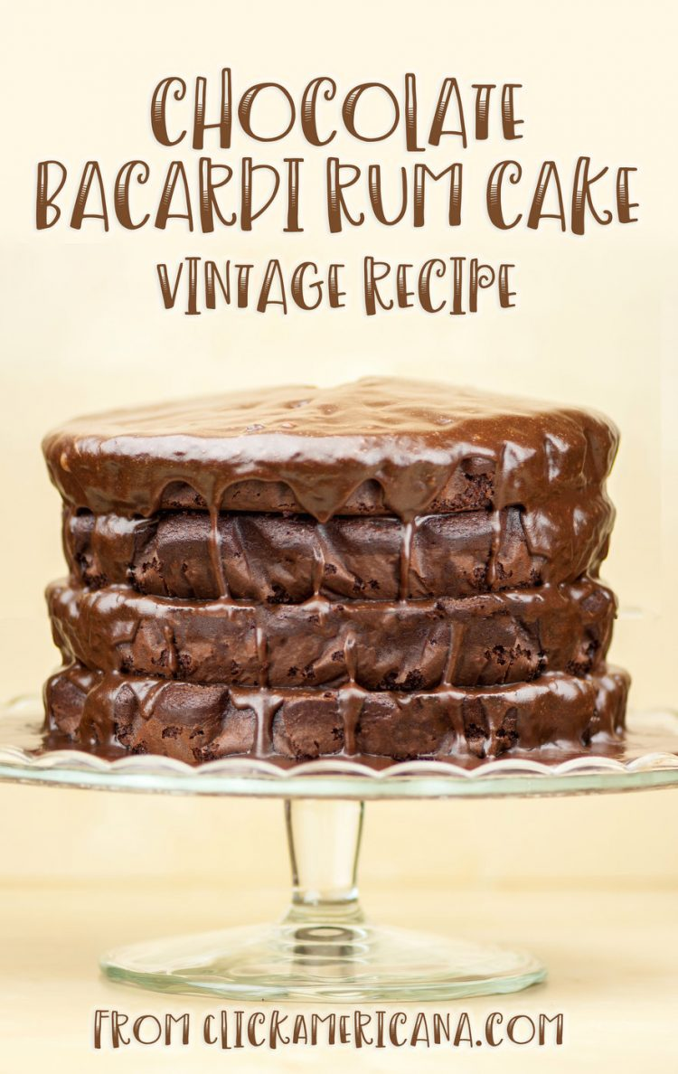 Chocolate Bacardi rum cake recipe (1977)