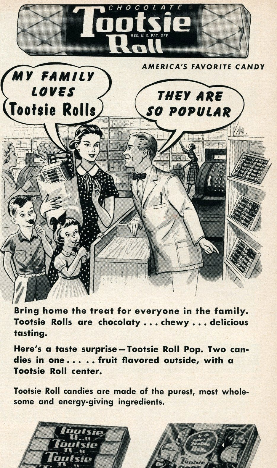 Chocolate Tootsie Roll America's favorite candy (1955)