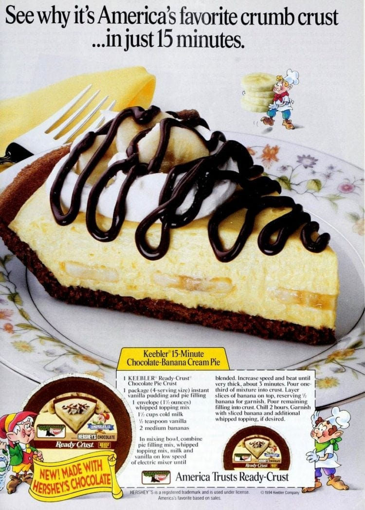 15-minute Chocolate-Banana Cream Pie recipe (1994)