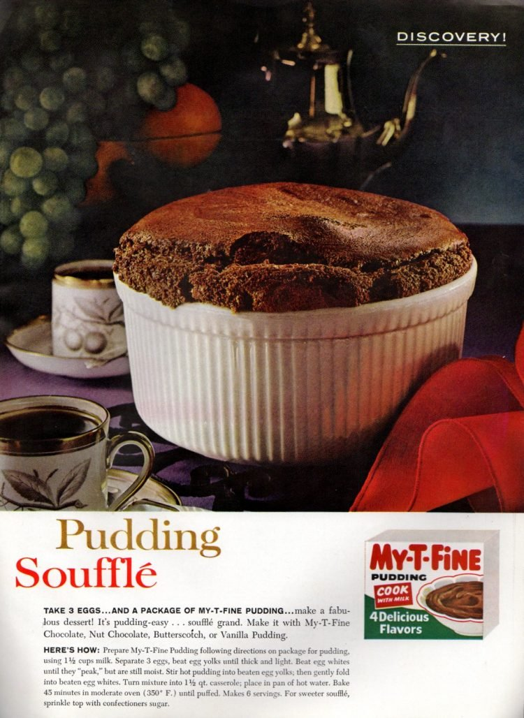 Chocolate, butterscotch or vanilla pudding souffle recipes (1961)