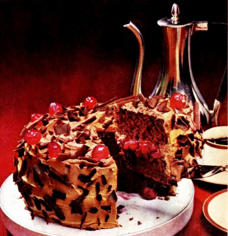Chocolate-cherry torte - Vintage dessert recipe from 1966 (1)