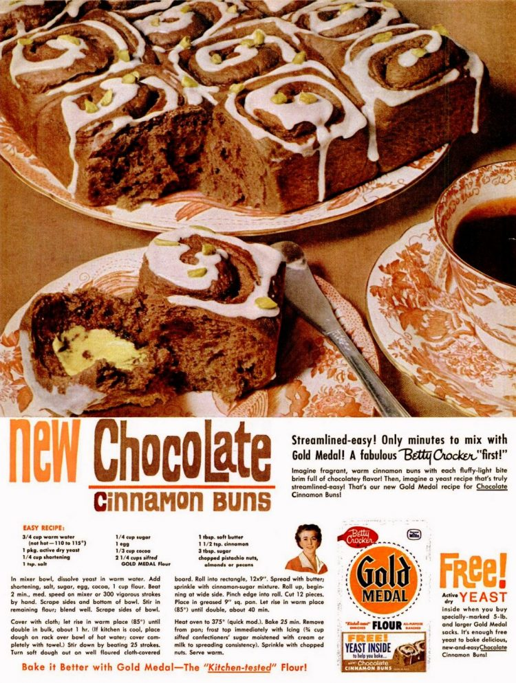 Chocolate cinnamon buns classic recipe from 1960