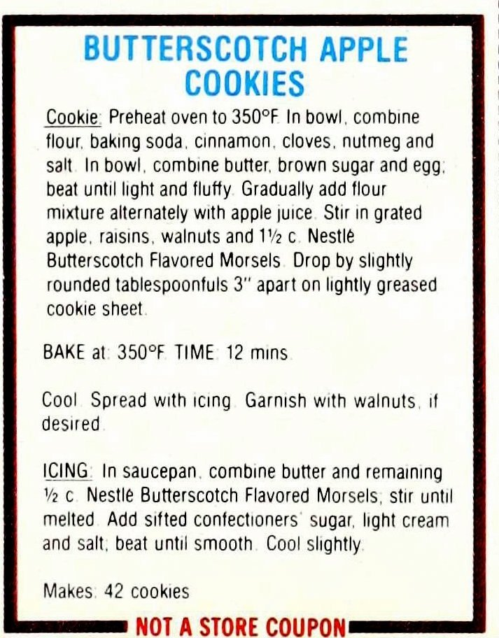 Chocolate cookie recipes from 1985 - Butterscotch apple cookies