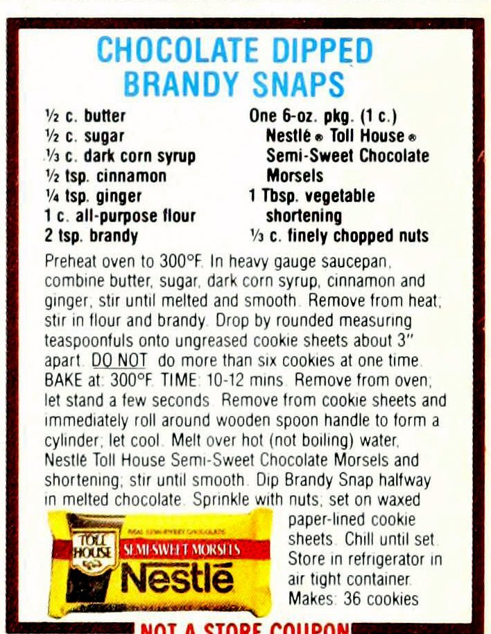 Chocolate cookie recipes from 1985 - Chocolate dipped brandy snaps