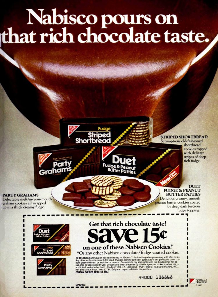 Chocolate-covered cookies from 1983