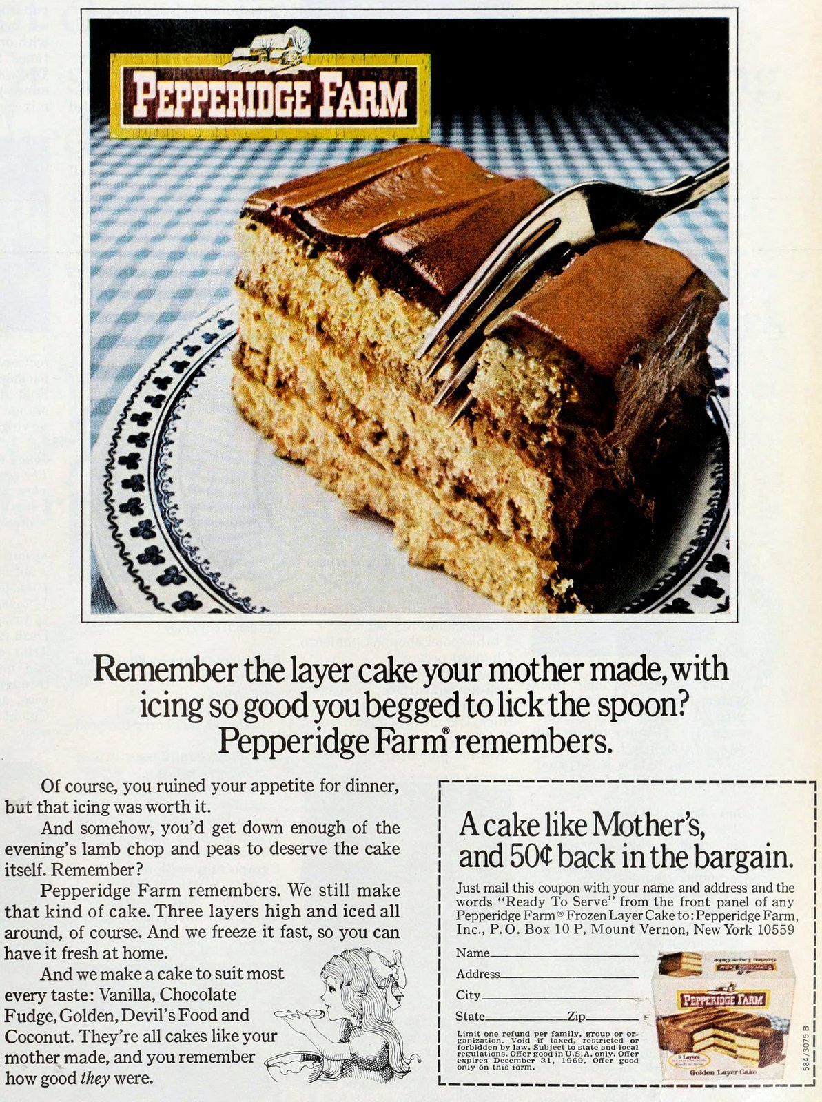Chocolate frosted layer cake like mother's - Pepperidge Farm (1969)