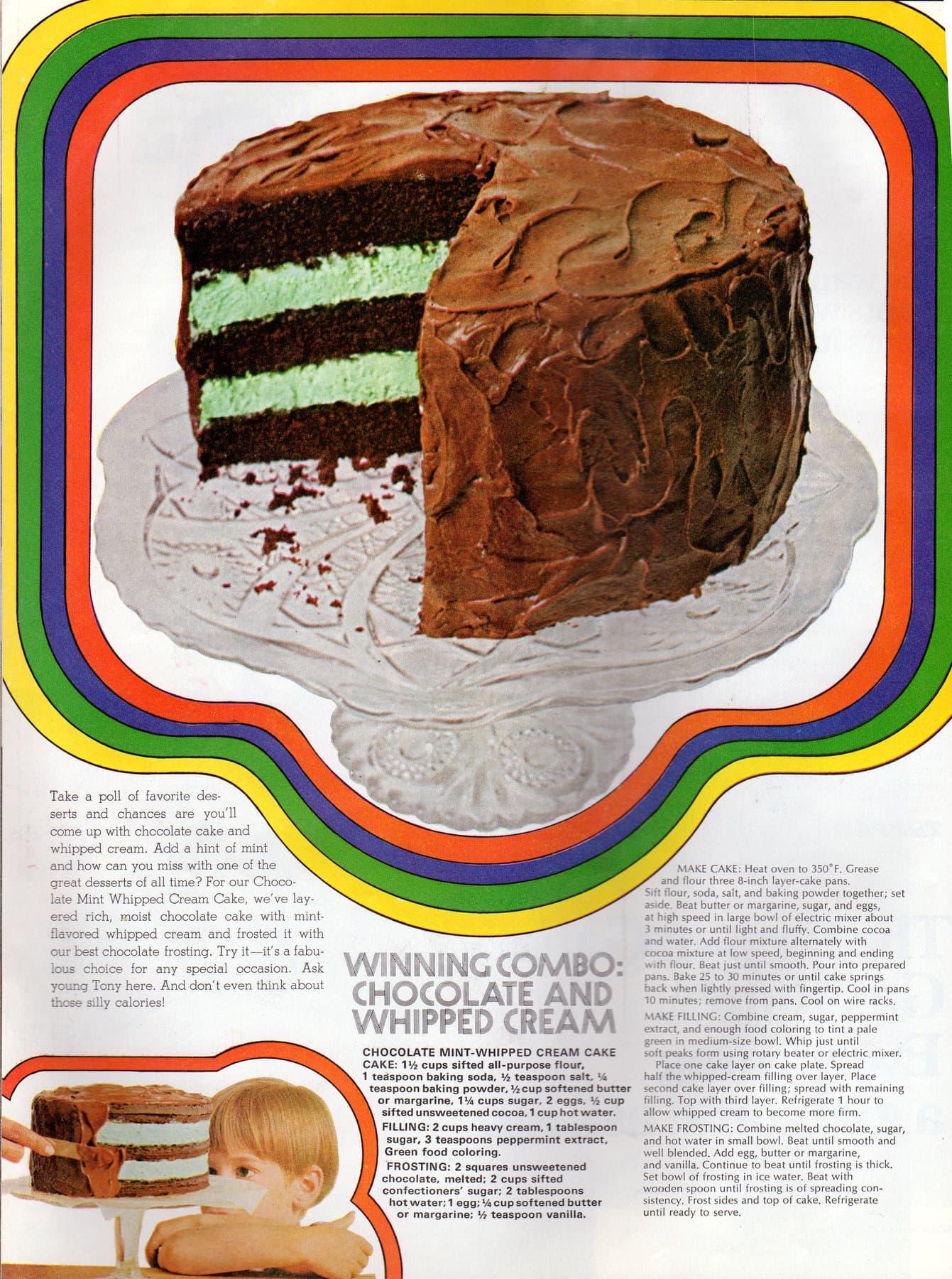 Chocolate mint-whipped cream cake recipe (1968)