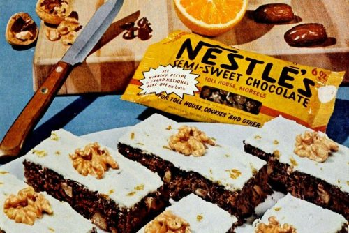 Chocolate refreshers brownies with nuts and dates 1960 (1)