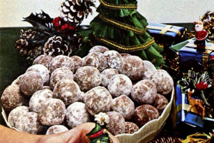 Chocolate rum balls with powdered sugar (1982)