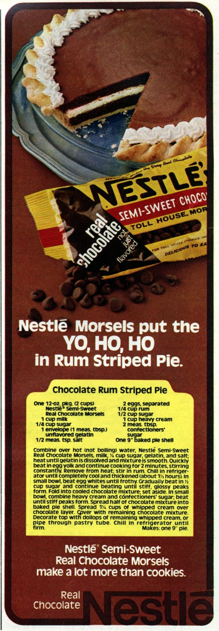 Chocolate rum striped pie recipe - 1978