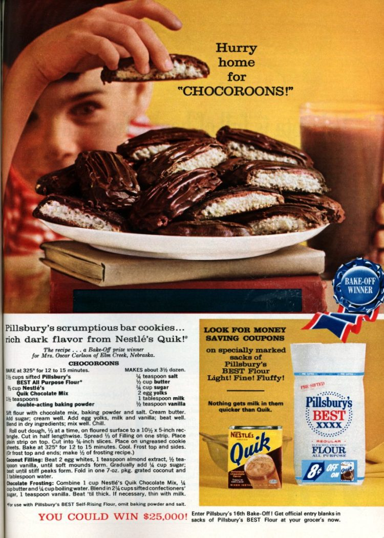 Chocoroons Cookies with coconut filling and chocolate frosting (1964)