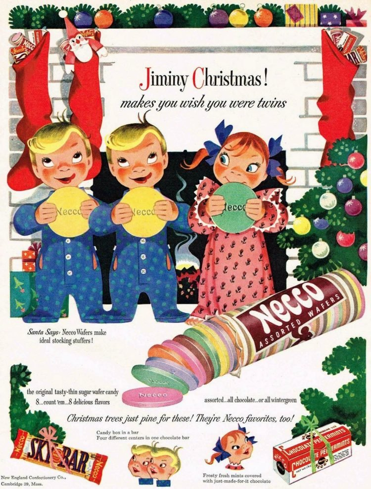 Christmas Necco Wafers ad from 1950