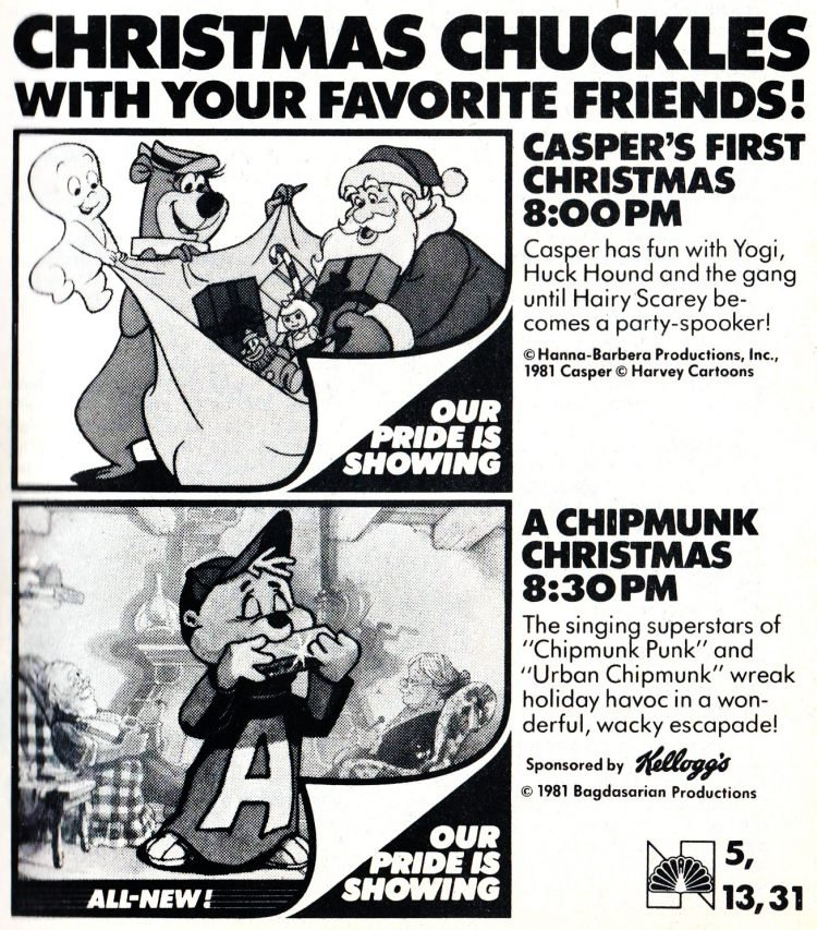 Christmas Tv specials 1981 - Casper and Chipmunks