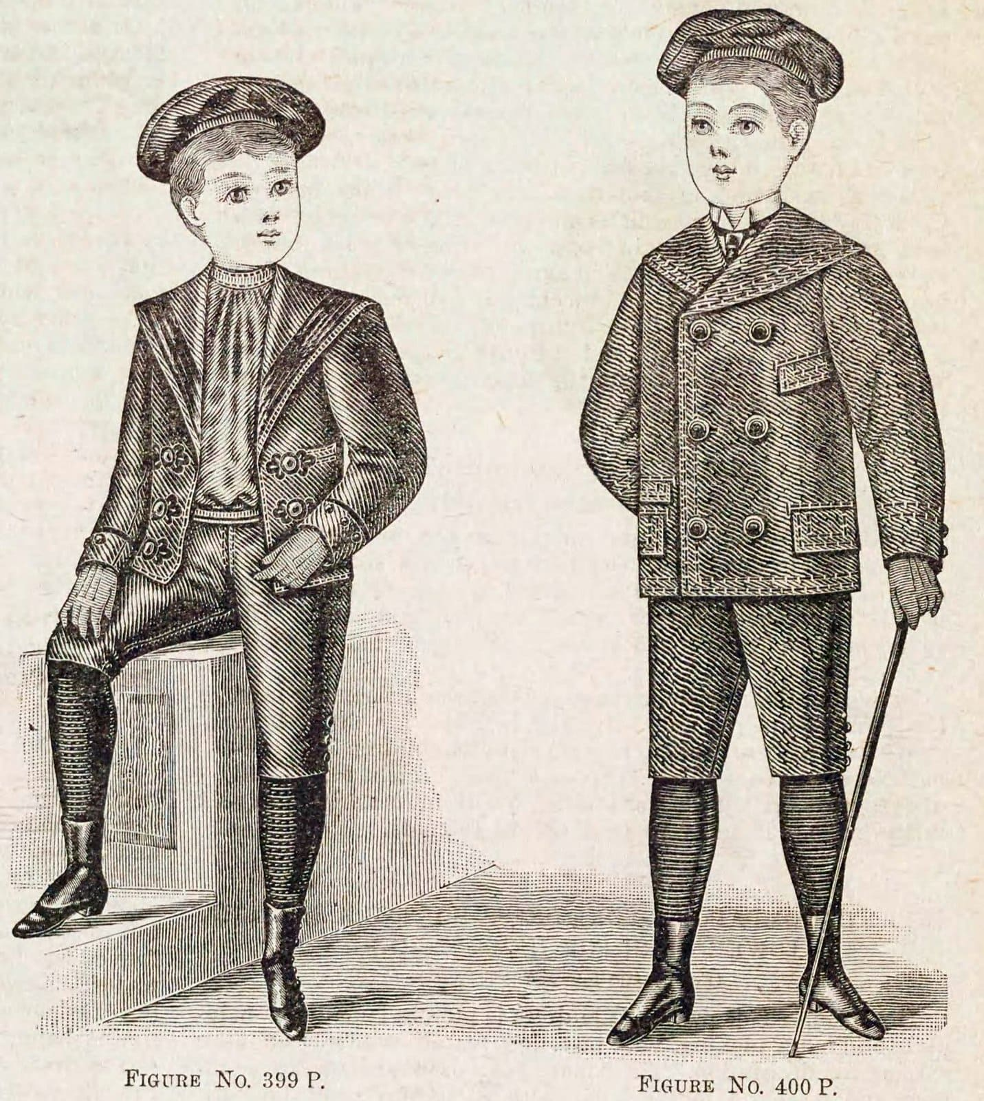 Christmas and winter fashions for Victorian-era boys in the late 1890s (1)