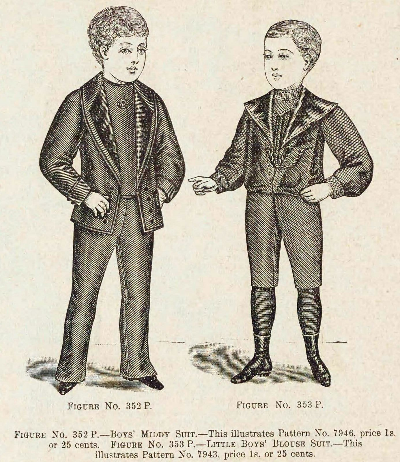 Christmas and winter fashions for Victorian-era boys in the late 1890s (2)