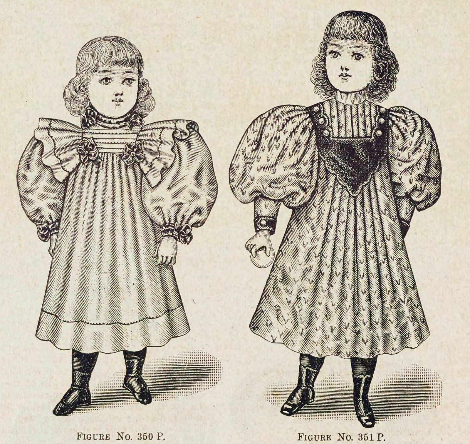 Christmas and winter fashions for Victorian-era girls in the late 1890s (1)