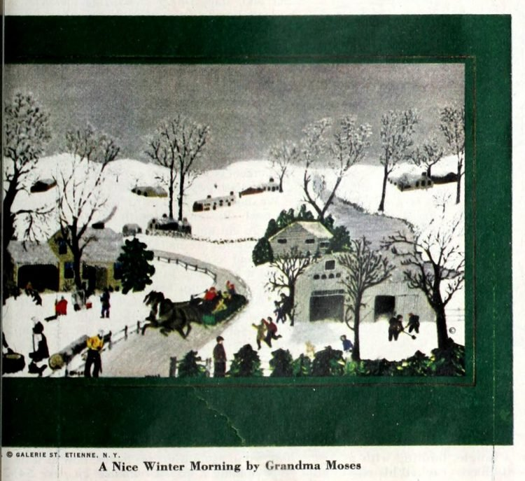 Christmas card from 1952 - A Nice Winter Morning by Grandma Moses