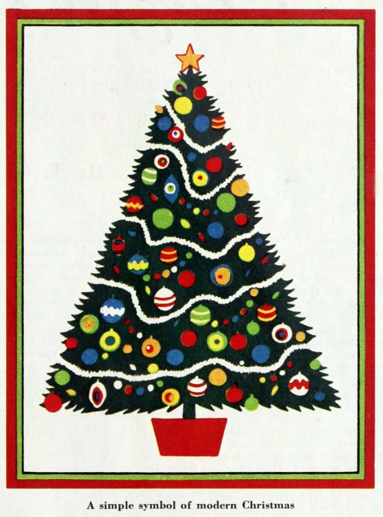 Christmas card from 1952 - A simple symbol of modern Christmas