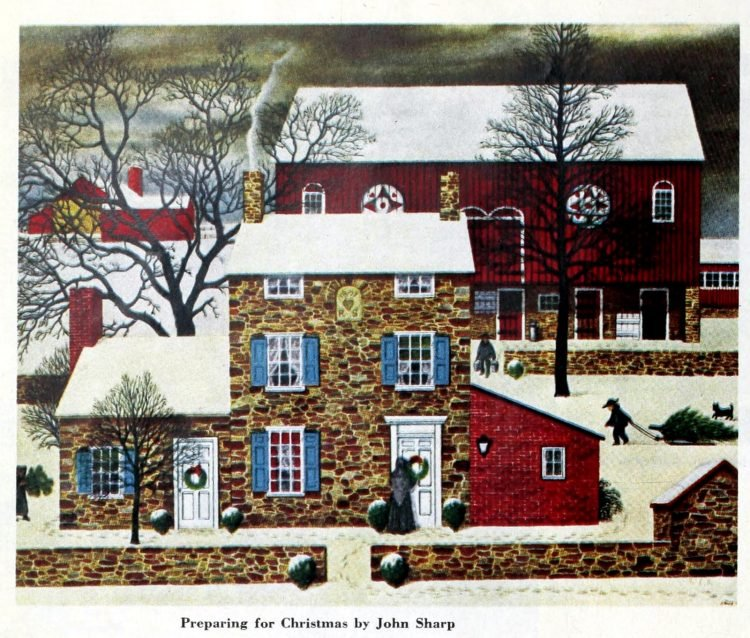 Christmas card from 1952 - Preparing for Christmas by John Sharp
