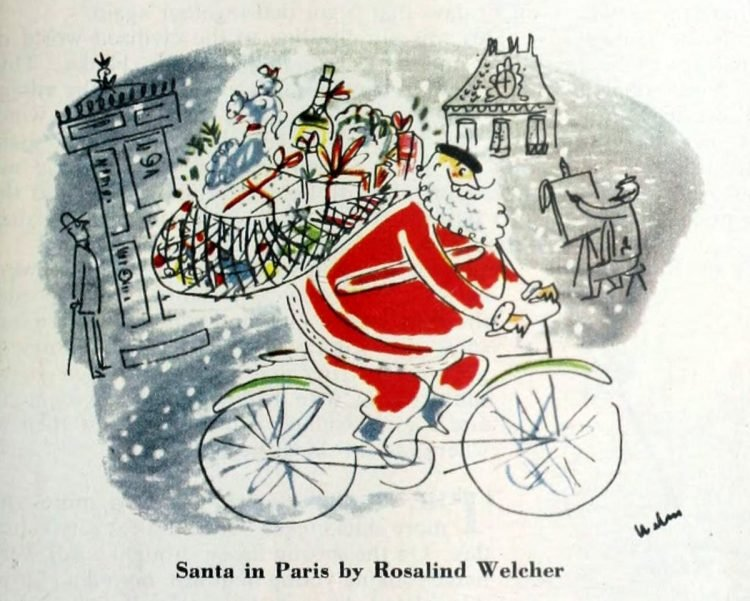 Christmas card from 1952 - Santa in Paris by Rosalind Welcher