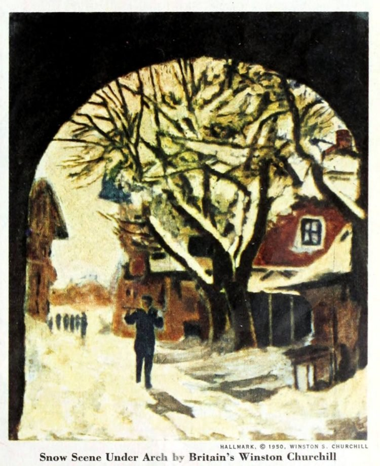 Christmas card from 1952 - Snow Scene Under Arch by Britain's Winston Churchill