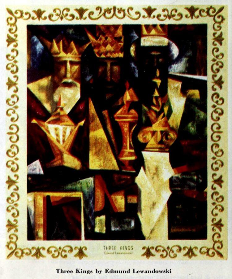 Christmas card from 1952 -Three Kings by Edmund Lewandowski