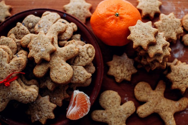 Christmas or new year gingerbread cookies on a plate