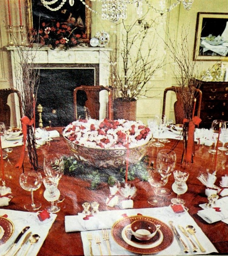 Christmas holiday table setting from 1974