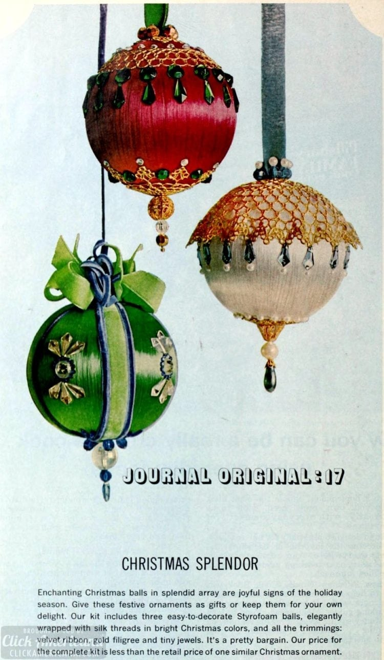 Vintage Christmas ornament crafts from 1964
