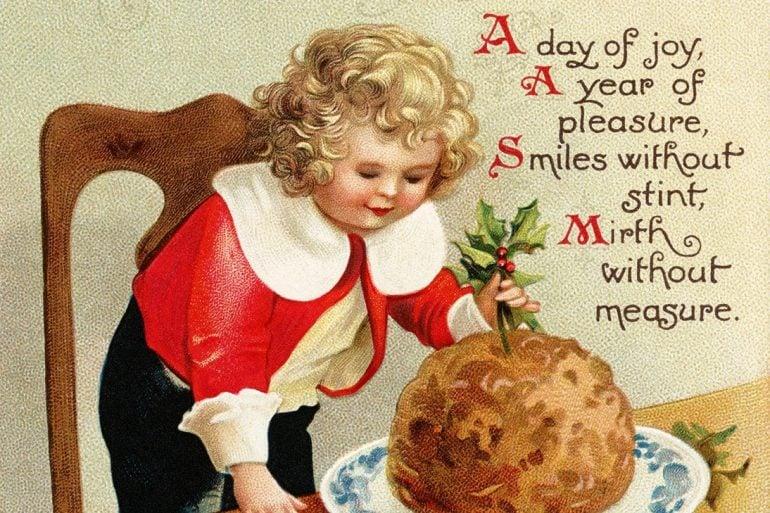 Christmas plum pudding antique postcard